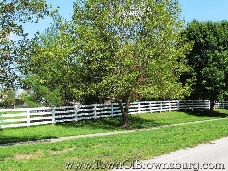 Sugar Bush Farms, Brownsburg, IN: White Fence around the Subdivision